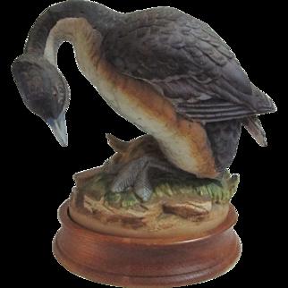Andrea By Sadek Horned Greeb ( Grebe) Bird Figure Figurine Japan With Wood Base