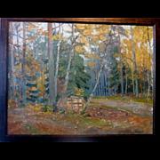 """Autumn, Stacked Firewood,"" 1935, Oil on Canvas, 25 x 32"" (28 x 35"")"