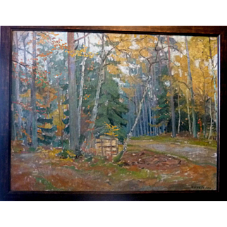 """Autumn, Stacked Firewood,"" 1935, Oil on Canvas, 25 x 32"" (28 x 35"")"
