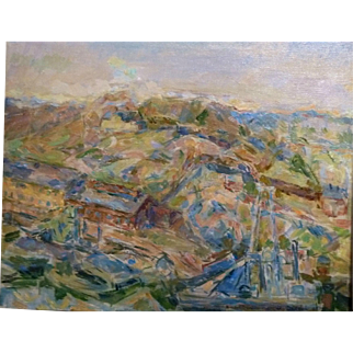 """Mining Town,"" 1948, Oil on Canvas, 18 x 21.5"" (image only)"