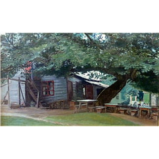 """Peter's Road House,"" 1932, Oil on Canvas applied to board, 16 x 27"" (image only)"