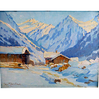 """Foot of the Alps,"" ca 1900, Oil on artist Board, 13 x 15.75"" (size without frame),"