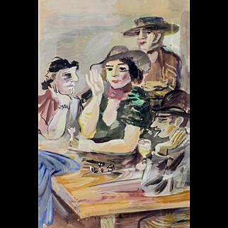 """""""Cabaret, Paris,"""" ca 1925, Gouache, 19 x 12.5"""" (25 x 21.5"""")"""