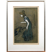 "Picasso - After ""La Diseuse,""  #61/500 Lithograph, Gouache highlights"