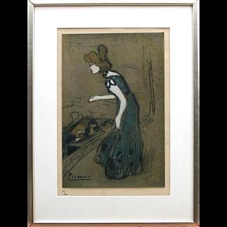 """After-Picasso"" ""La Diseuse,""  #61/500 Lithograph, Gouache highlights"