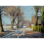 """Country Road, ca 1915, 17"""" x  23"""" (23 x 29"""")"""