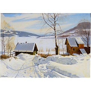 """Snow Drifts in High Country, ca 1930, 20 x 28"""" (23 x 31"""""""""""