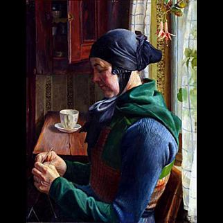 """By Light of the Window,"" ca 1915, 29 x 22 """