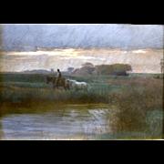 """Afternoon Rain Shower,"" ca 1885 (30-Day Money Back Guarantee)"