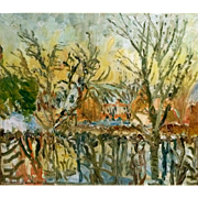 "5 Day Sale - ""Village Pond in Winter,"" ca 1935 (30-Day Money Back Guarantee)"