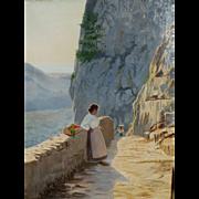 """5- Day Sale - """"Capri,"""" ca 1900, 29 x 22"""" (30-Day Money Back Guarantee)"""