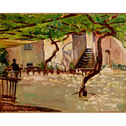 "5-Day Sale - ""Courtyard in Italy,"" ca 1928, 20 x 25.75"" (30-Day Money Back Guarantee)"