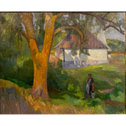 """Woman with Pail,"" a'la Gauguin, Oil on Canvas, (25 1/2 x 31 1/2"" sight),"