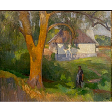 """Woman with Pail,"" a'la Gauguin, Oil on Canvas, (25 1/2 x 31 1/2"" sight),"