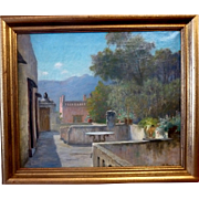 "Roof Terrace, Pink House, Italy, ca 1910, Oil on Canvas, (15.75 x 19.25"" Sight)"