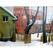 """""""Parson's Yard in Winter,"""" 1943, Oil on Canvas,"""