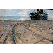 Awaiting the Tide, ca 1920-30, Sight size 14 x 21.5""