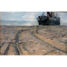 """Awaiting the Tide, ca 1920-30, Sight size 14 x 21.5"""""""