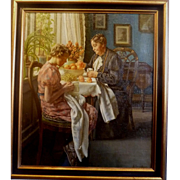 """Spending Time Together,""Oil on Canvas, ca 1915, 28 x 24"" (sight),"