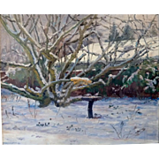 """Russian Hawthorne"" in Winter, 1980, Oil on Canvas, 21 x 25 1/2"" (sight)"