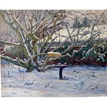 """""""Russian Hawthorne"""" in Winter, 1980, Oil on Canvas, 21 x 25 1/2"""" (sight) (5-Day Sale until Oct 11)"""