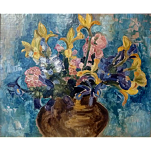 """Iris and Roses, a'la Matisse, ca 1916, Oil on Canvas (24 x 29"""" sight)"""
