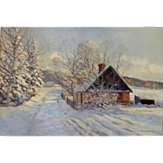"""""""Pink House in Snow"""", Oil on Canvas, 18.5 x 27"""" (sight), ca 1930"""