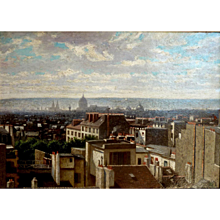 """Paris Rooftops and Chimney Pots, ca 1900, Oil on Artist Board, 13.5 x 18.5"""" (sight)"""