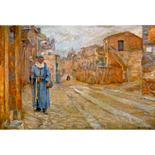 """Monk in Blue, Rome, ca 1893, Oil on Canvas, 15 x 22"""" (sight)"""