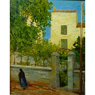 """Yellow House, Provence, France, 1959, Oil on Canvas, 31 3/4 x 25 1/2"""""""