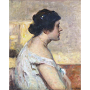 """""""Soft Shoulder,"""" ca 1895, Oil on Canvas,  24 x 19 1/2"""""""