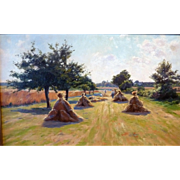 """Harvest-Time"", French, Post-Impressionist, ca 1900, 15 x 24"" (sight)"