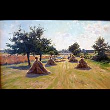 """Provenance, France, Harvest,"" ca 1900, 15 x 24"" (sight)"