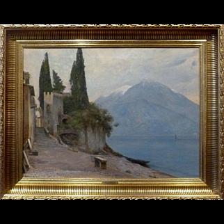 "Lake Como, Italy, ca 1915, 19 3/4 x 26 1/4"" (sight), Oil on Canvas"