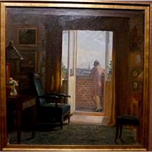 """""""Dressed and Waiting,"""" ca 1926, oil on canvas, 25 x 25"""""""