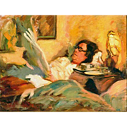 "Tony Reading in Bed, ca 1920 Oil on Canvas, 16"" x 21"""