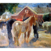 "Horse Auction, ca 1924, Oil on Artist Board, 19 x 21.5"" (image)"
