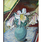"""""""Lilies,"""" ca 1940, 24 x 20""""  (image), oil on canvas."""