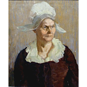 """""""Dutch Woman,"""" Museum copy of 17th century painting, Oil on Canvas, 24 x 20,"""" (32 x 28"""" framed)"""
