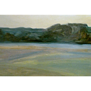 """Distant Hills,"" ca 1945, 24 x 31.5 "" (29.5"" x 37"") Modernist Painter"