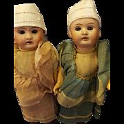Twin Dolls by Porzellanfabrik Rauenstein Original Dress w/ Trunk 11in