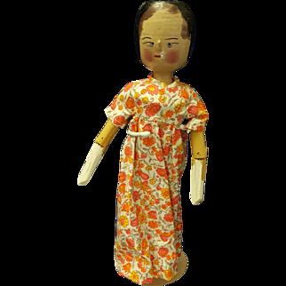 Penny Doll Hand Carved Wood Folk Art Woman Grodnertal Dressed
