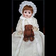 MAX-HANDWERK-Bebe-Elite-German-Bisque-Doll-Antique-13-inches-White-Gown