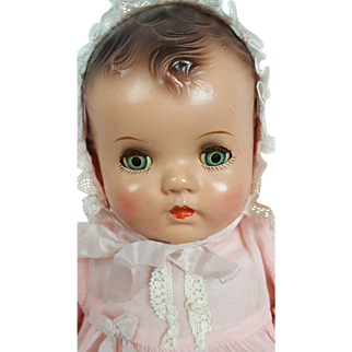 Ideal Honey Baby Vintage 1930s to 40s Tin Blue Eyes 14 inches Molded Brown Hair