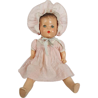 Vintage Horsman Composition Mama Baby Doll 1930s LOVELY FACTORY ORIGINAL ~