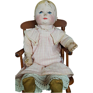 """Martha Chase Doll Painted Cloth Stockinette Child Doll Antique 20"""" All Original"""