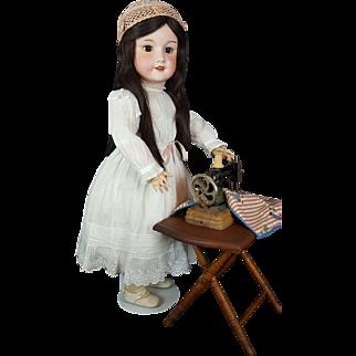 SFBJ French 301 Doll Antique Large 36 in Original Body Brown Eyes Dk Brown Hair