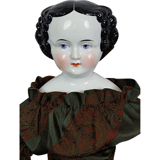 German Porcelain Black Haired China Head Lady with Center Part Large 21 inches
