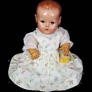 "Effanbee 15"" Dy-Dee Baby 50's Vintage Doll Vintage Dress Bonnet Slip Undies CUTE"