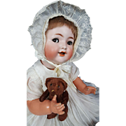 "Kammer Reinhardt Simon Halbig 126 Antique Baby Doll Bisque Head Flirty Eyes 17"""